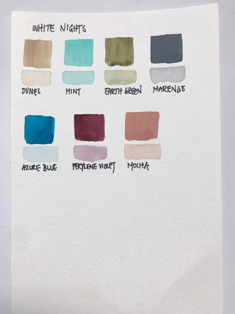 St Petersburg White Nights Watercolour watercolor swatches
