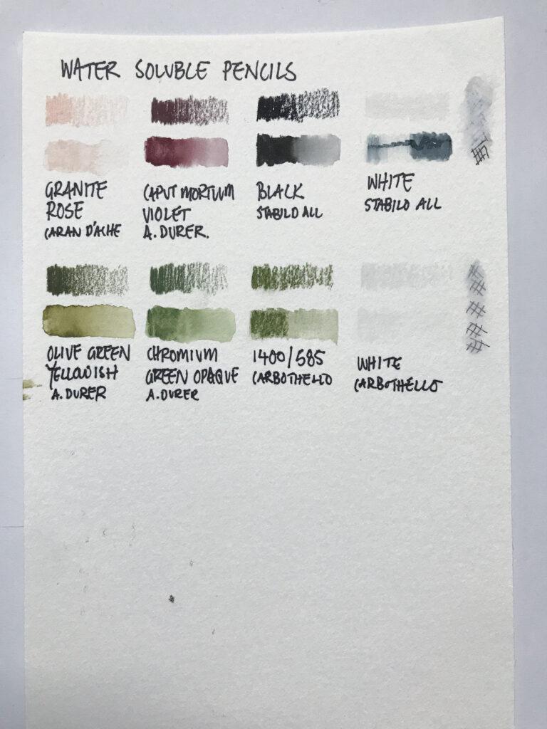 Caran d'Ache Albrecht durer watercolor pencil swatches