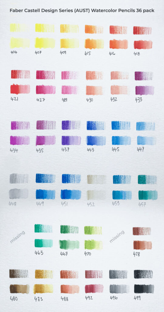 swatches Faber Castell Design Series 36 AUST 1