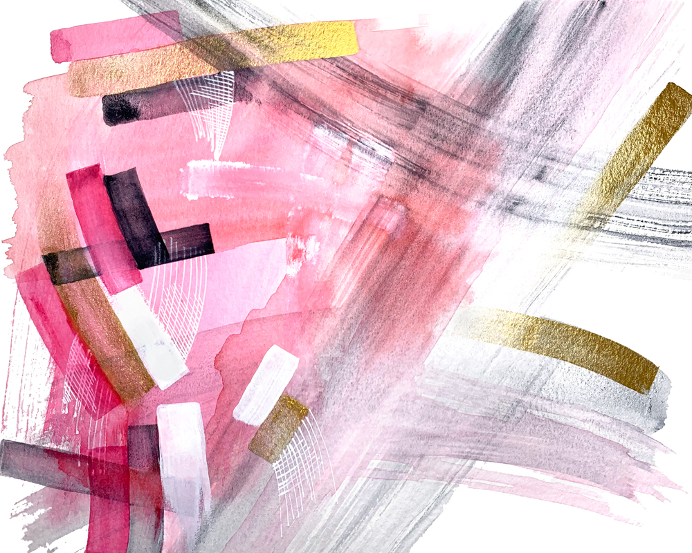 watercolor strokes pink grey gold 10x8 no1